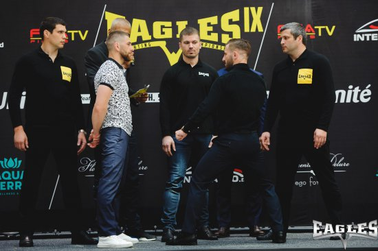 Friday Face Off: Ivan Zhvirblia vs Andrei Barbarosa at EAGLES IX Press Conference.